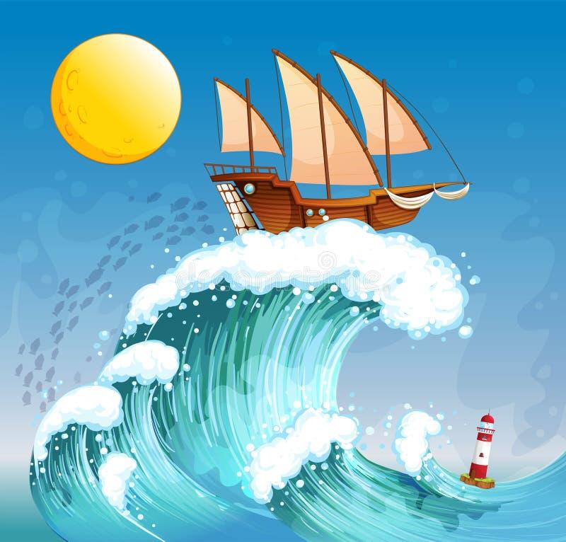 Un bateau au-dessus des vagues géantes illustration stock