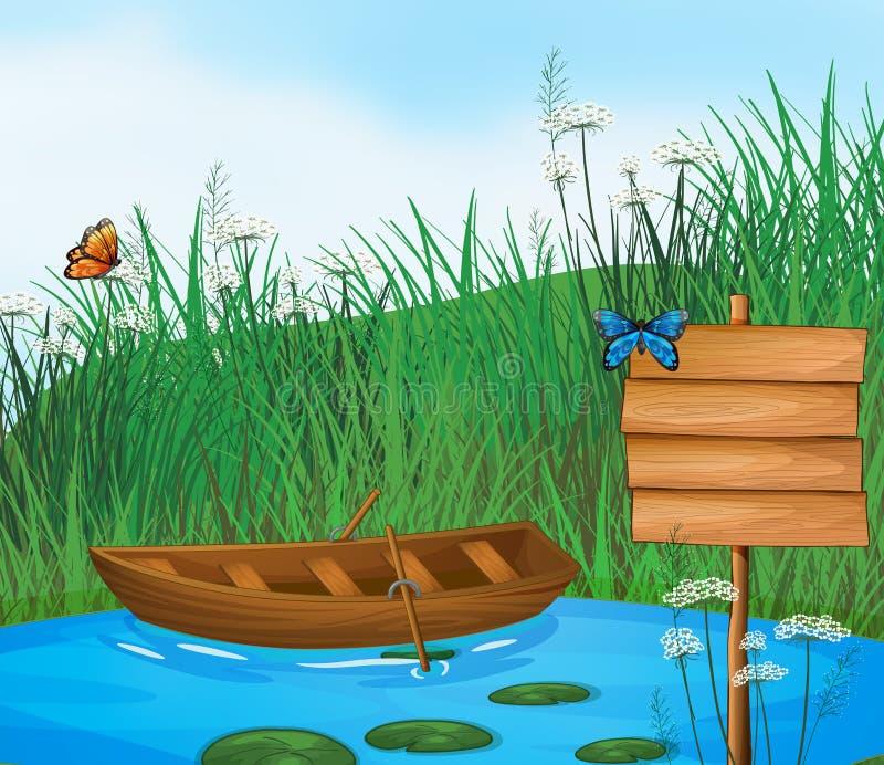 Un bateau en bois en rivière illustration libre de droits