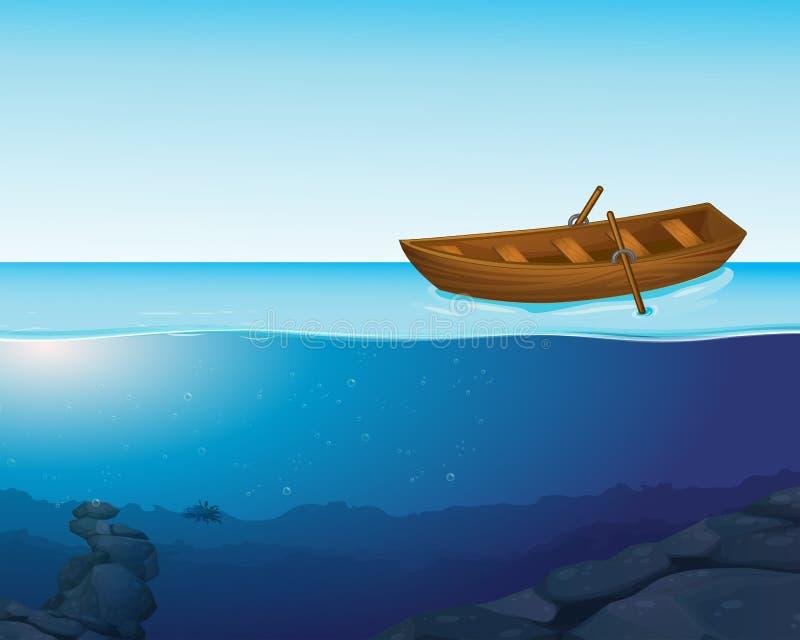 Un bateau a sur l'eau illustration libre de droits