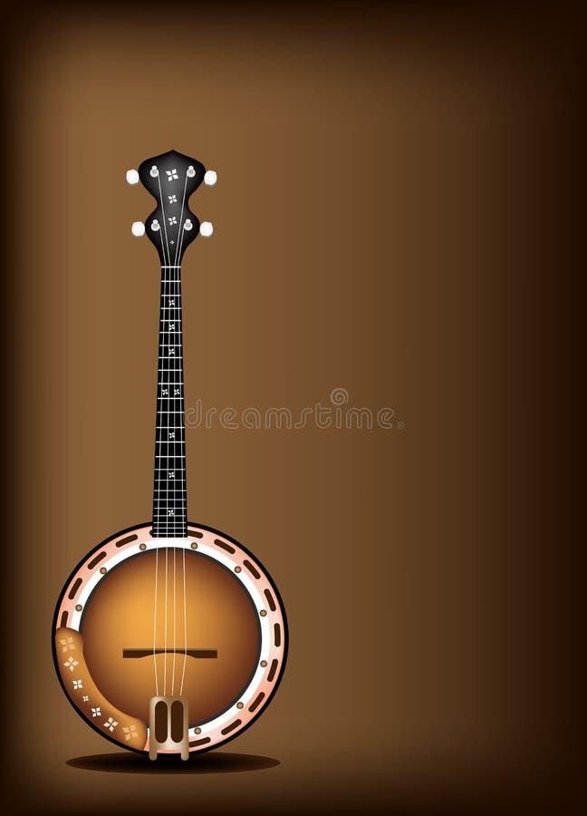 Un beau banjo sur le fond de Brown foncé illustration libre de droits