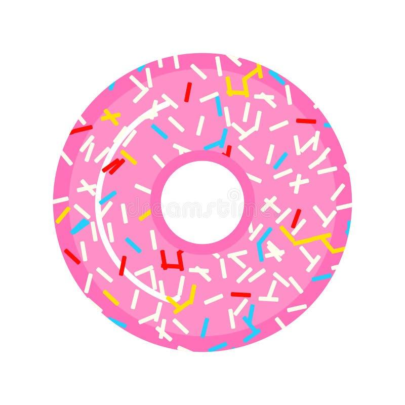 Un beau beignet rose avec des framboises et des sucreries Nourriture douce pour des filles Conception pour l'autocollant, site We photos libres de droits