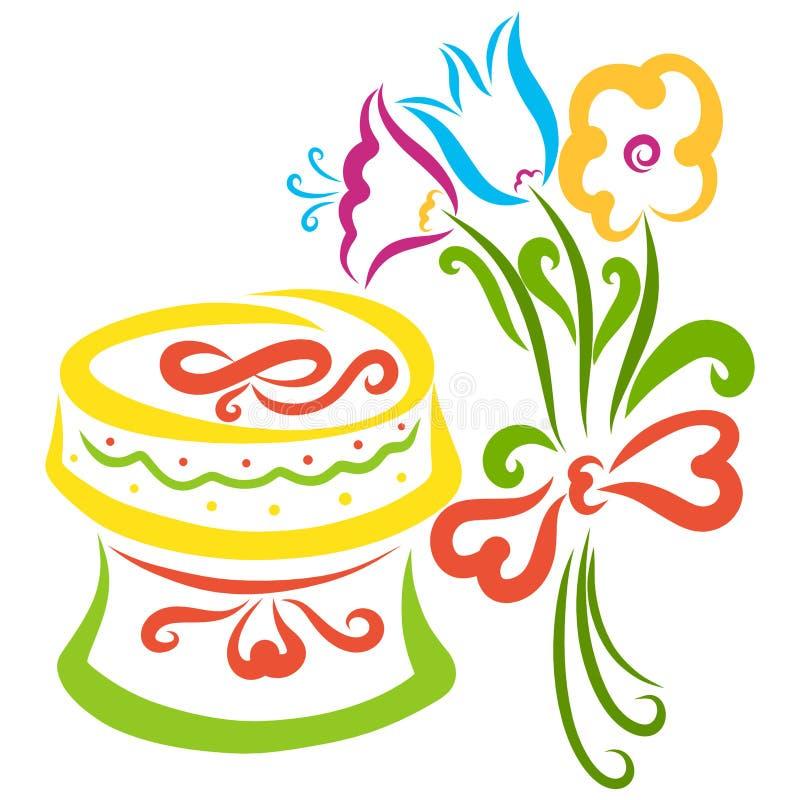 Un beau cadeau et un bouquet des fleurs pour elle illustration libre de droits