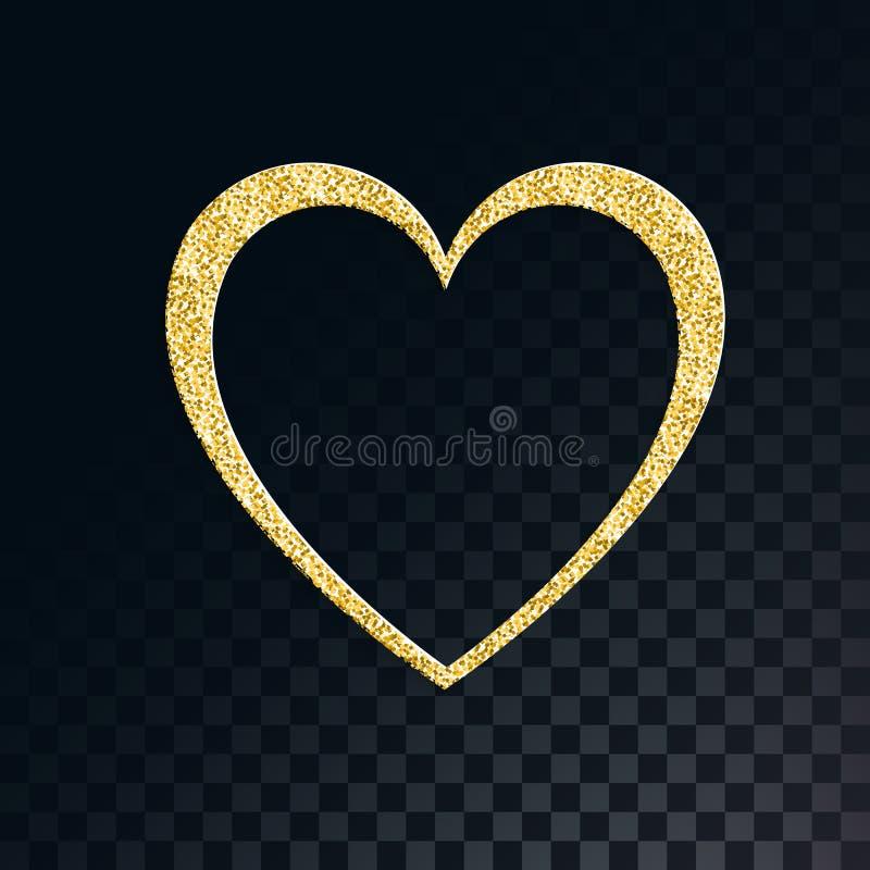 Un beau coeur de fête éclatant d'or avec les étincelles fascinantes sur l'obscurité translucide et le fond noir carré des places illustration libre de droits