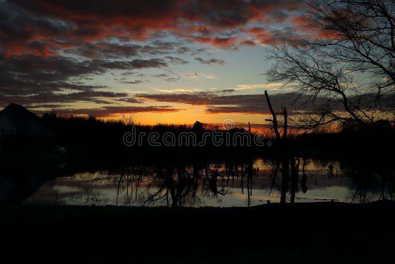 un beau coucher du soleil au-dessus du marais image stock