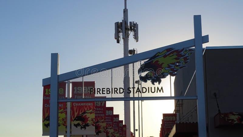 Un beau coucher du soleil au stade de Firebird à Scottsdale, Arizona photographie stock