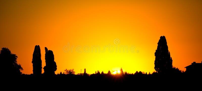 Un beau coucher du soleil dans la région de chianti, en Toscane près de Florence photos libres de droits