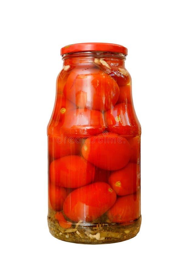 Un beau et grand pot avec les tomates en boîte, d'isolement photos libres de droits