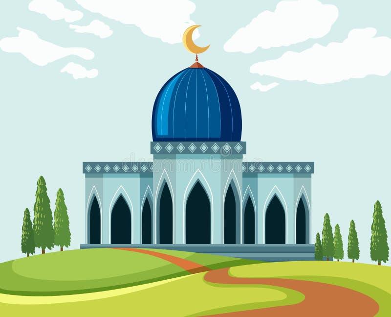 Un beau lanscape de mosquée illustration de vecteur
