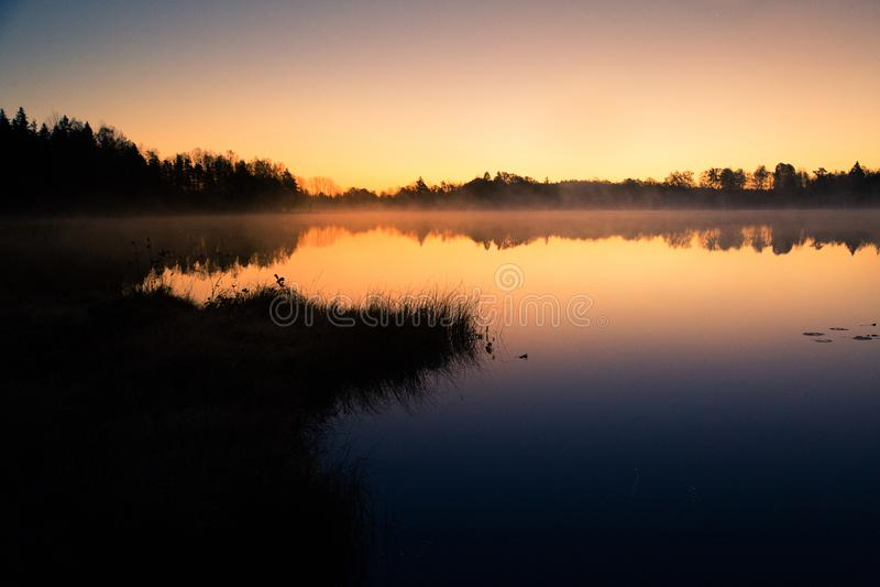 Un beau lever de soleil sur un lac avec un beau matin augmentant de brume dans les marécages en Lettonie photos libres de droits