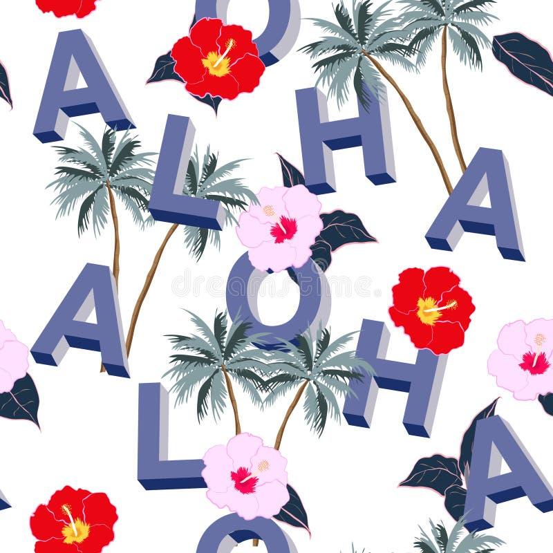 Un beau mélange sans couture lumineux du typo 3D ALOHA avec le motiv d'été illustration libre de droits