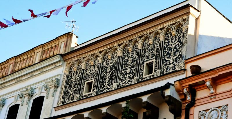 Un beau monument architectural au vieux, historique centre de la ville - Presov, Slovaquie, l'Europe photo stock