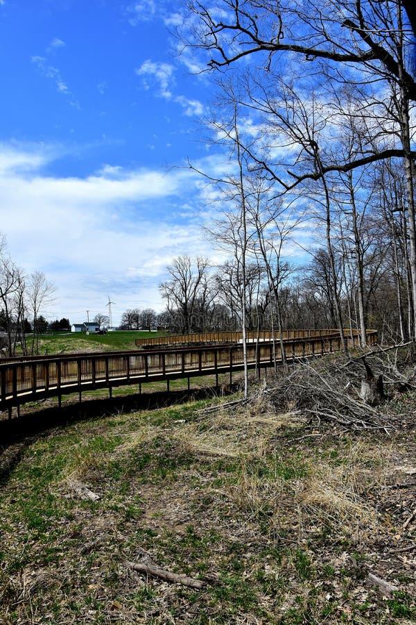 Un beau nouveau chemin bois? de v?lo au printemps photo libre de droits