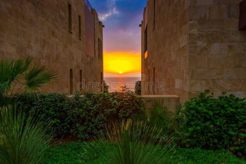 Un beautifu y una puesta del sol colorida en el mar entre dos edificios y un jardín imagen de archivo libre de regalías