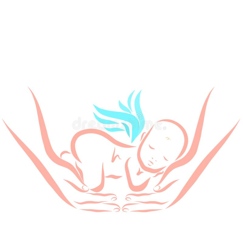 Un bebé con las alas reservado dormidas en brazos de los padres ' stock de ilustración