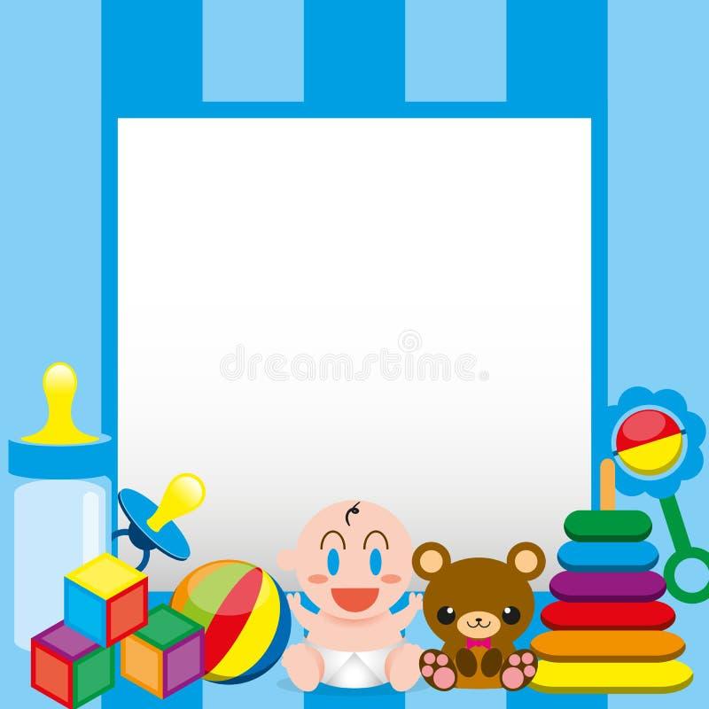 Un bebé lindo y juguetes de la historieta del vector con, tablero para el texto ilustración del vector