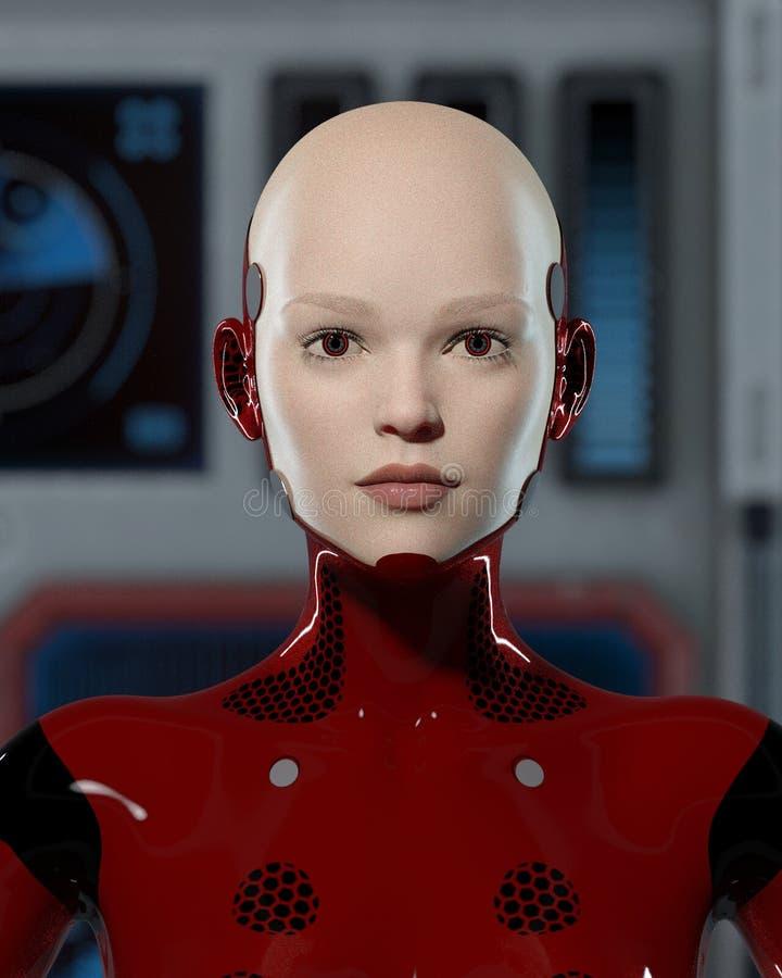 Un bel androïde femelle dans l'uniforme rouge images stock