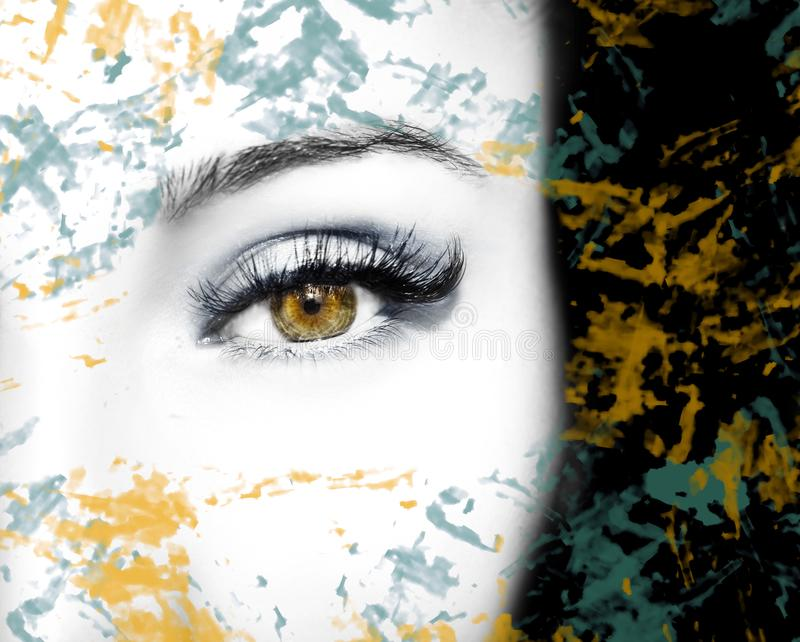 Un bel oeil perspicace de regard avec les taches abstraites Fermez-vous vers le haut du tir illustration libre de droits