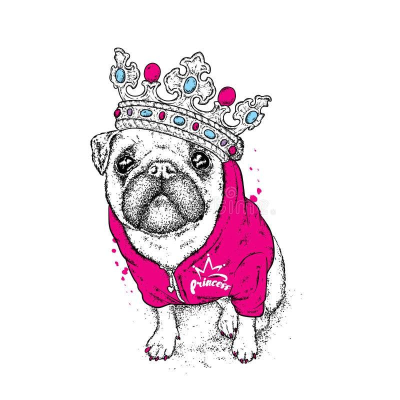 Un bello carlino nel rivestimento e nella corona Vector l'illustrazione per una cartolina o un manifesto, stampa per i vestiti Pa royalty illustrazione gratis