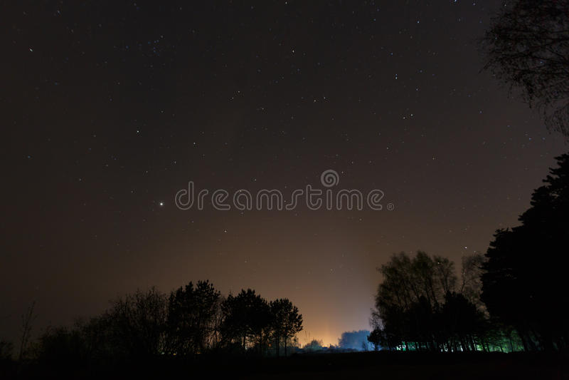 Un bello cielo notturno, la Via Lattea e gli alberi fotografie stock