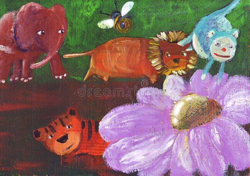 Un bello fiore nella foresta illustrazione di stock