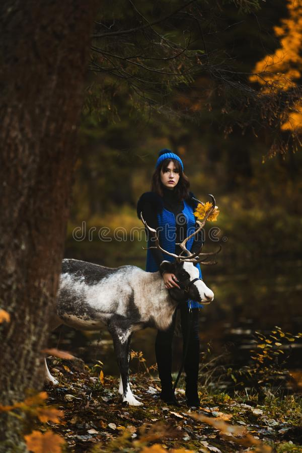 Un bello modello della ragazza che cammina con i cervi nel parco immagini stock libere da diritti