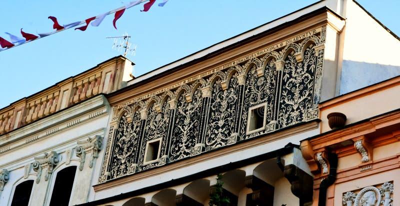 Un bello monumento architettonico nel vecchio, centro urbano storico - Presov, Slovacchia, Europa fotografia stock