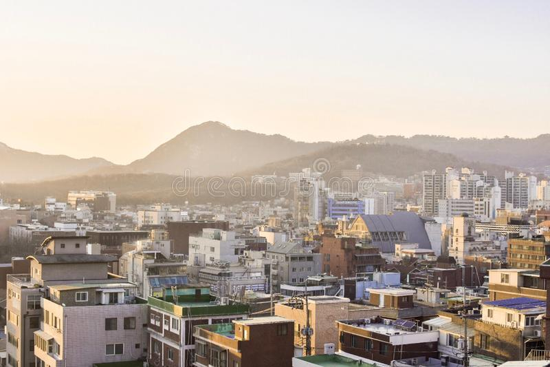 Un bello paesaggio urbano in Corea del Sud fotografia stock libera da diritti
