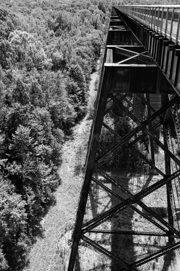 Un in bianco e nero della sovrastruttura di alto ponte immagine stock libera da diritti