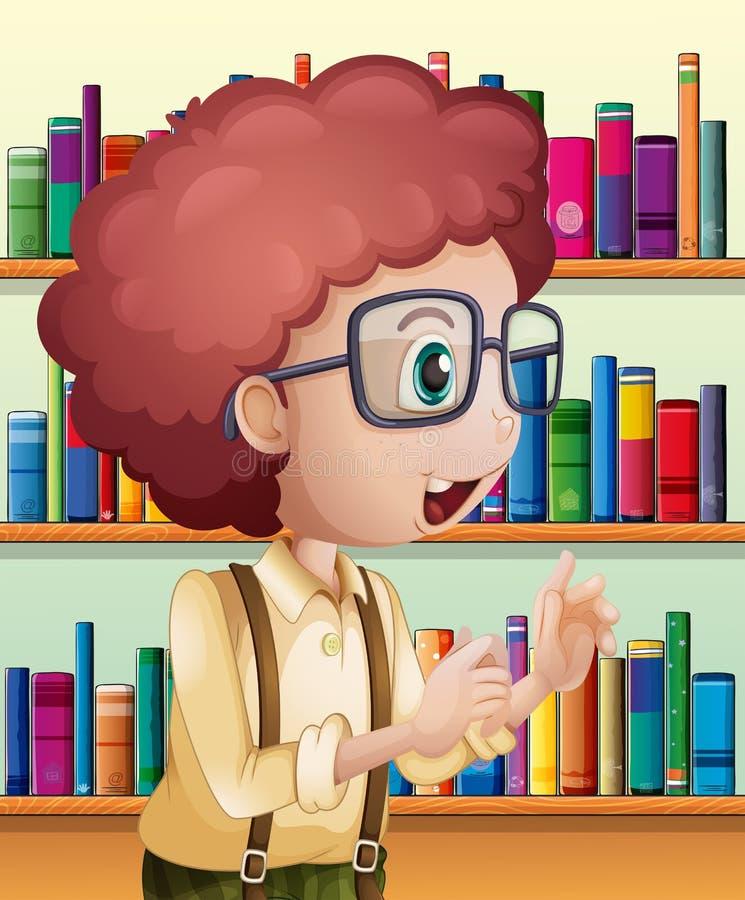 Un bibliotecario de sexo masculino dentro de la biblioteca stock de ilustración