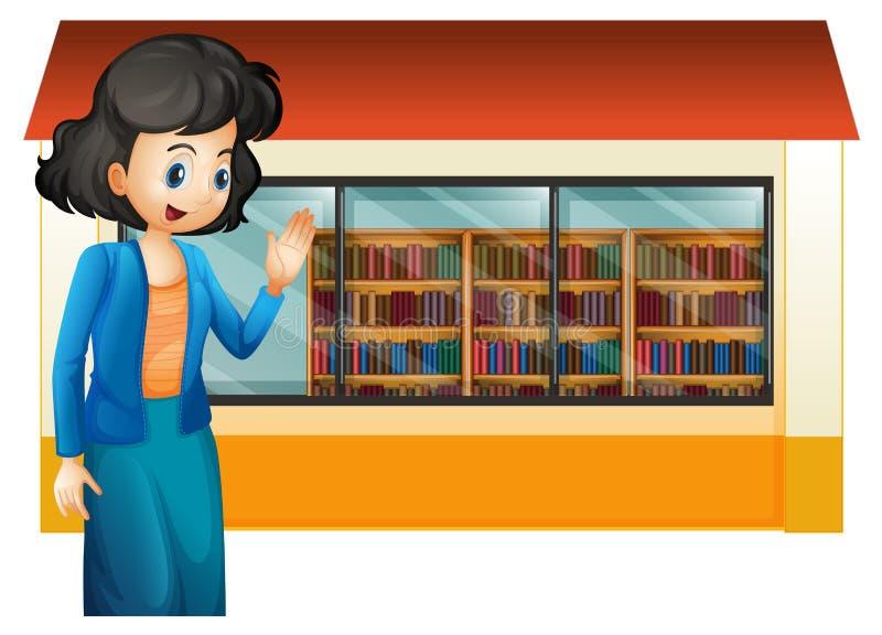 Un bibliotecario fuera de la biblioteca stock de ilustración