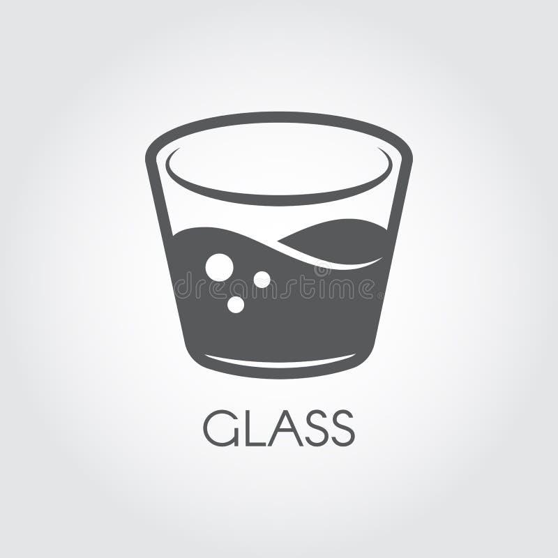 Un bicchiere d'acqua o l'altra bevanda astratta Icona in bianco e nero nella progettazione piana Concetto della barra e di cucina royalty illustrazione gratis