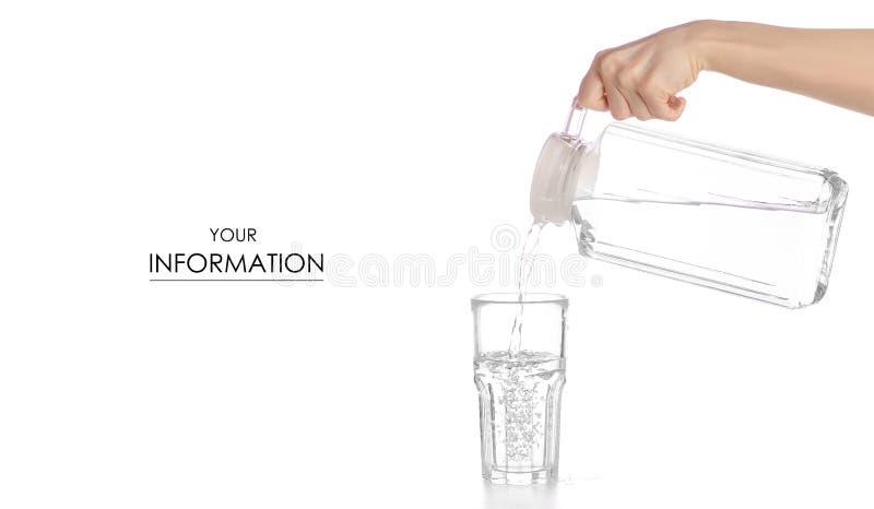 Un bicchiere d'acqua una brocca del decantatore con il modello dell'acqua a disposizione fotografia stock