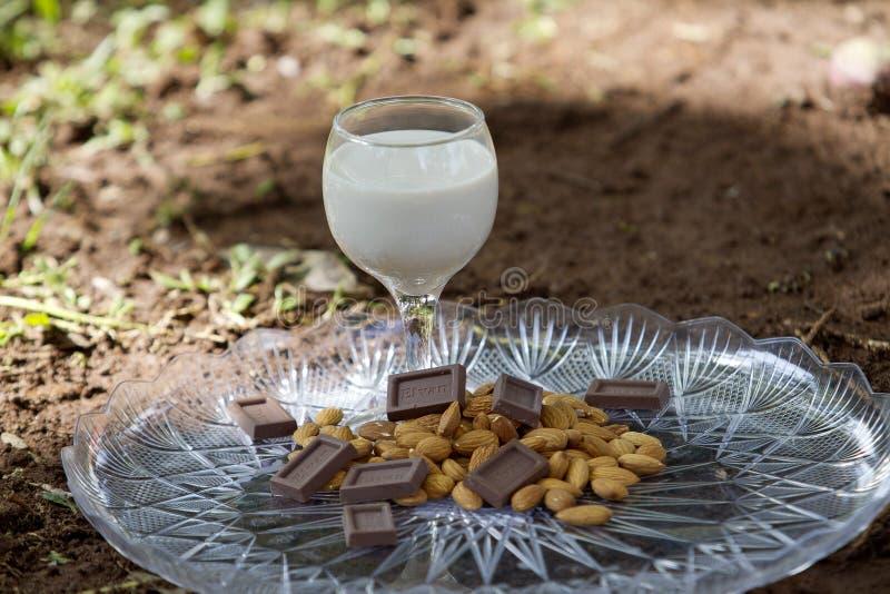 Un bicchiere di latte con cioccolato e le mandorle fotografie stock libere da diritti
