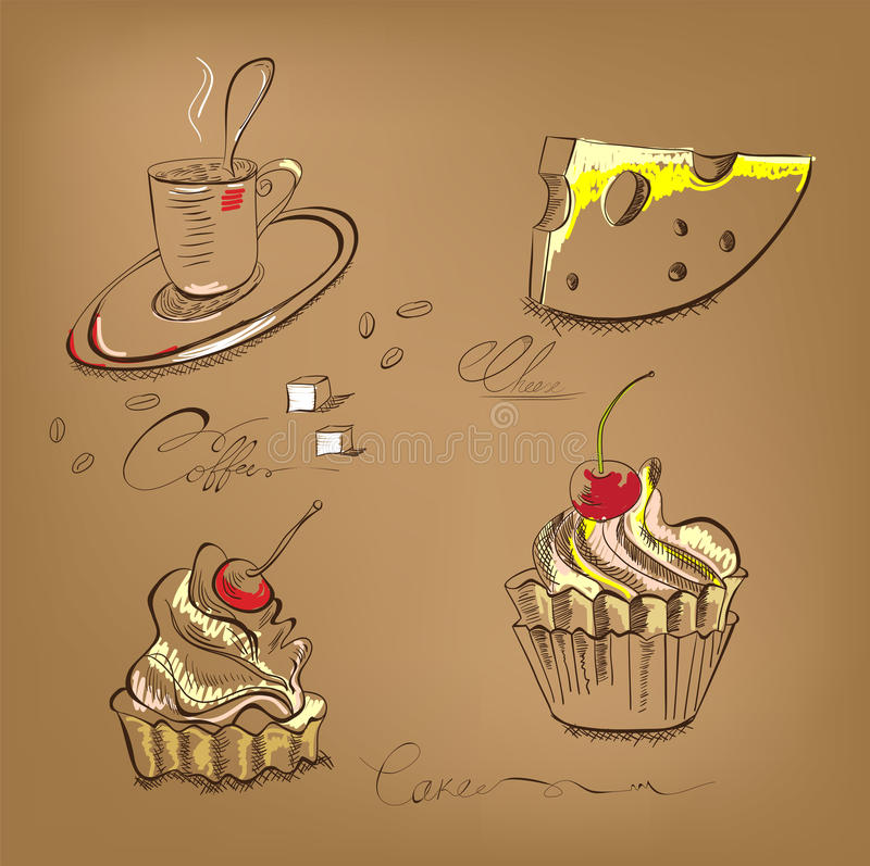 Un bigné e un formaggio della tazza di caffè illustrazione di stock