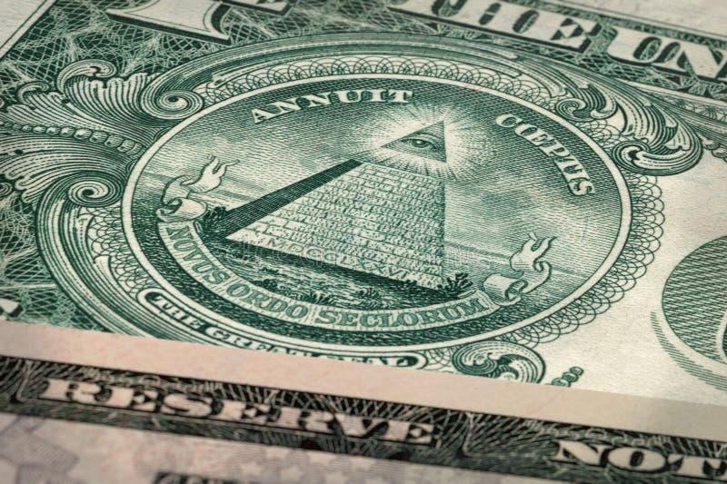 Un billet d'un dollar - le grand phoque - coeptis d'Annuit photos libres de droits