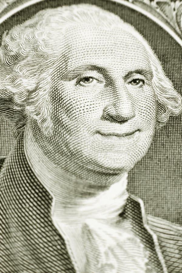 Un billet d'un dollar avec George Washington de sourire photographie stock libre de droits