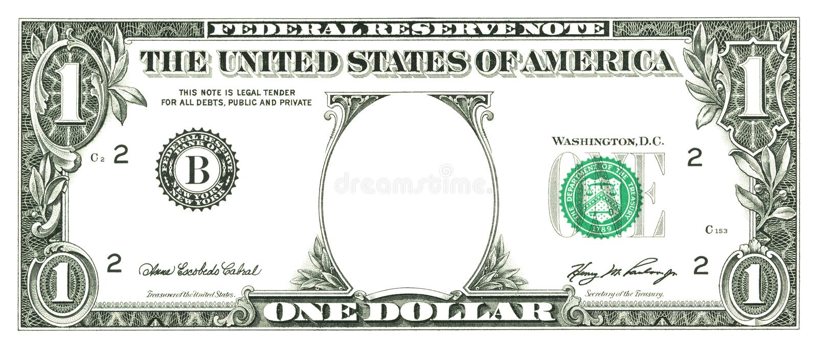 Un billet d'un dollar avec un trou illustration stock