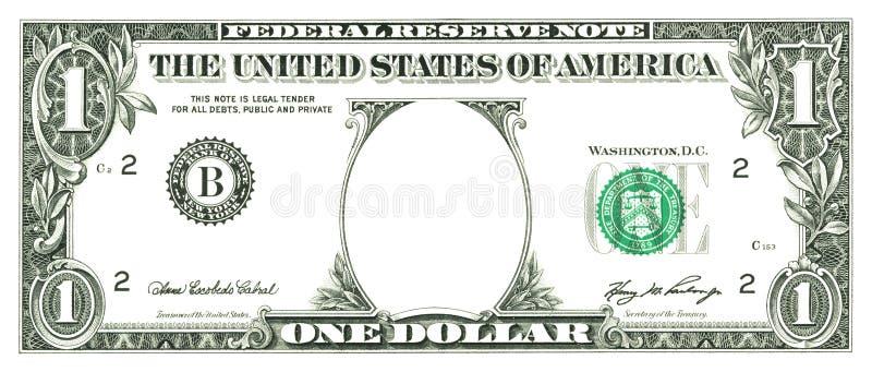 Un billet d'un dollar avec un trou illustration stock