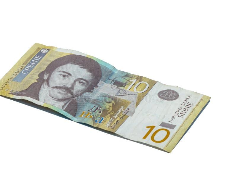 Un billet de banque en valeur 10 dinars serbes avec un portrait d'un linguiste Vuk Karadzic d'isolement sur un fond blanc images libres de droits