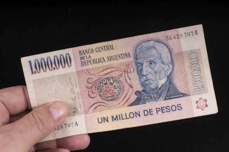 Un billete de banco argentino viejo imagen de archivo