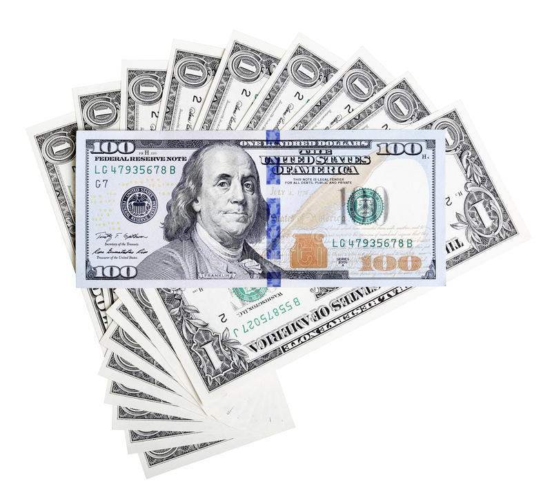 Un billetes de dólar y cientos nuevas macros del billete de banco del diseño del dólar imágenes de archivo libres de regalías