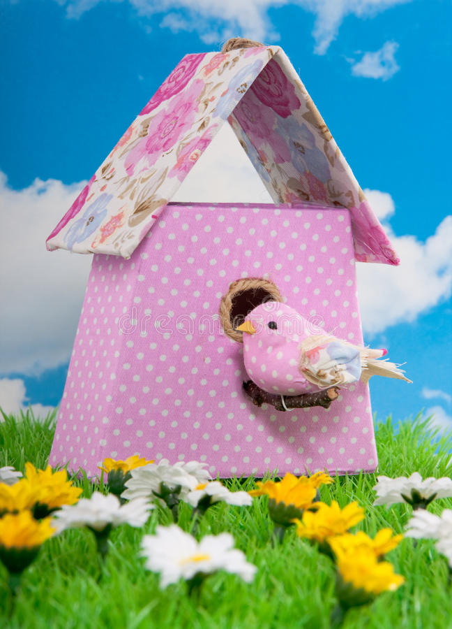 Un birdbox flowerfabric fotografie stock