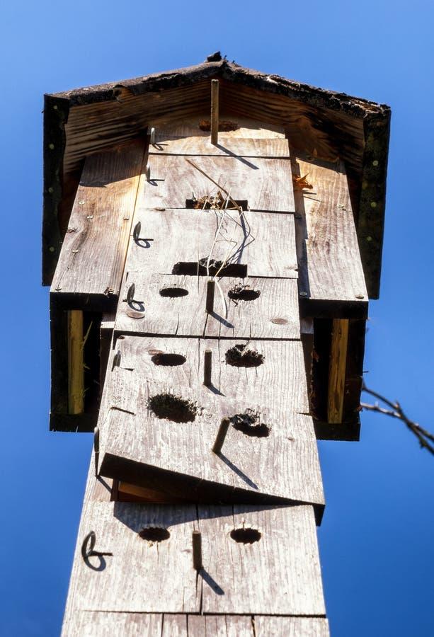 Un Birdhouse en la nieve fotografía de archivo libre de regalías
