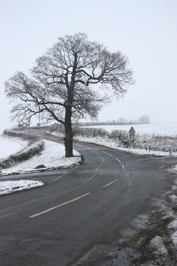 Un bivio in inverno immagini stock libere da diritti