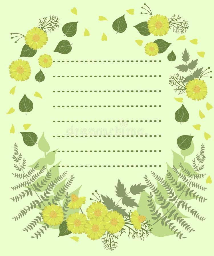 Un blanc avec la décoration florale et un acte pour le texte Illustration de vecteur illustration de vecteur
