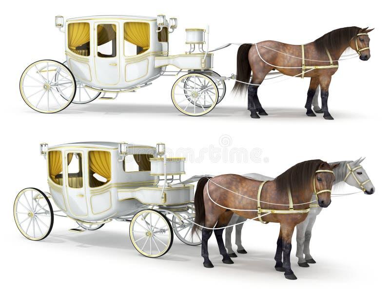 Un blanc, chariot or-de finition dessiné par une paire de chevaux illustration de vecteur