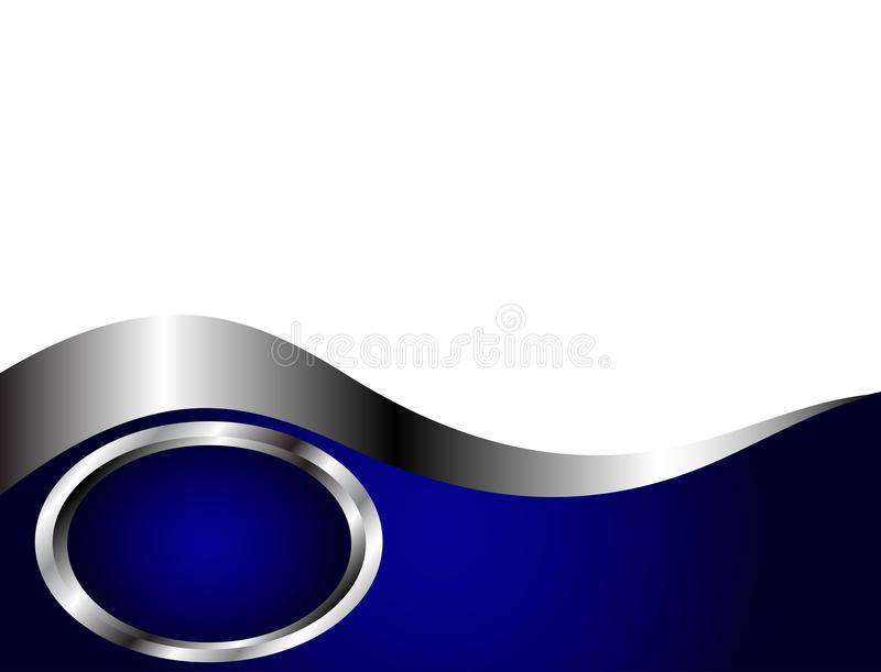 Un bleu royal et une carte de visite professionnelle de visite argentée et blanche Te illustration stock