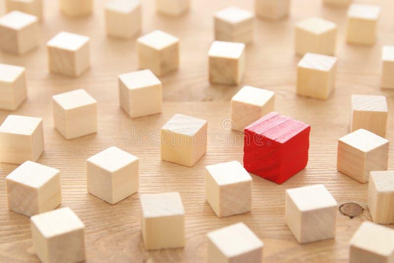 Un bloc rouge différent de cube parmi les blocs en bois Individualité, direction et concept d'unicité images stock