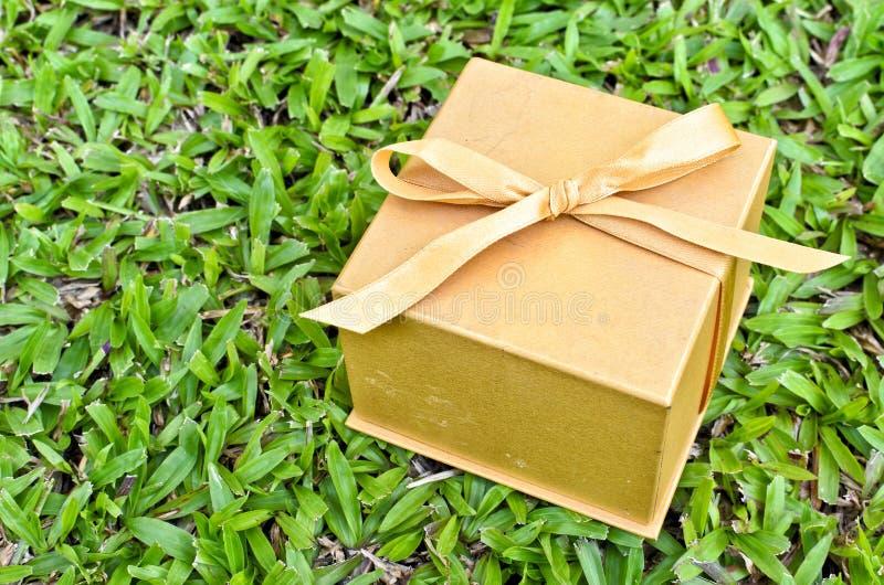 Un boîte-cadeau d'or sur l'herbe verte image libre de droits