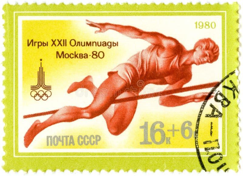 Un bollo stampato dai Olympics dei giochi dell'URSS, Mosca - 80, circa 1980 fotografia stock libera da diritti